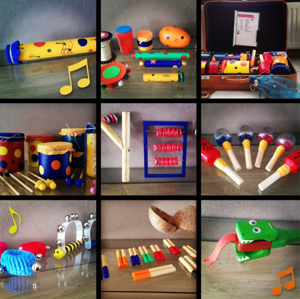Onze muziekkoffer met instrumenten die we zelf gemaakt hebben voor het vak muziek. Inhoud muziekkoffer: 20 Slagstaven 5 Bellenkransen Castagnetten Kokofoon (uitgeholde kokosnoot) 10 Schudbusjes 5 T…