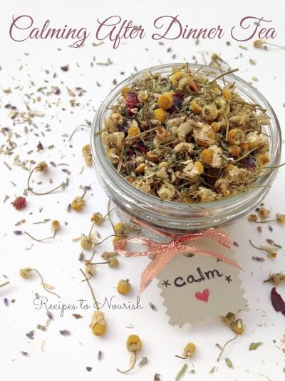 Calming After Dinner Tea ... this soothing after dinner herbal tea helps quiet the mind + calm the body. The tea mixture makes a lovely homemade gift too. | Recipes to Nourish