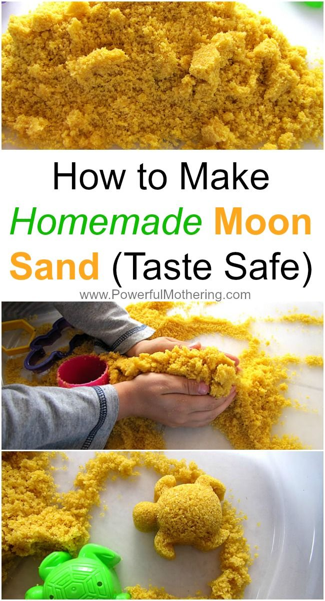 How to Make Homemade Moon Sand (Taste Safe) - Great for toddlers that keep tasting the sensory items you give them! #OT