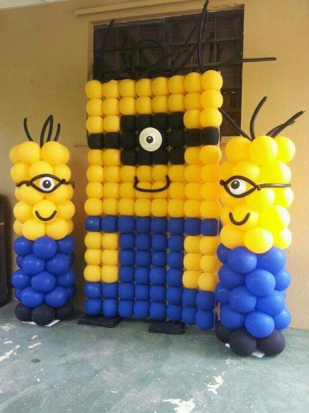 Minion Birthday Party Background Decors/ Stage Decorations/ Banners/ Letterings/ Door and Entrance decors, wreath, Minion Balloons