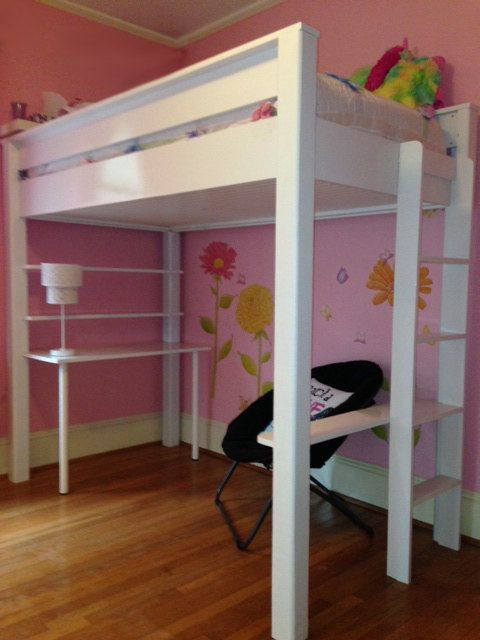 Twin Size Loft Bed and Desk Plans and by TobaccoRoadGuitars