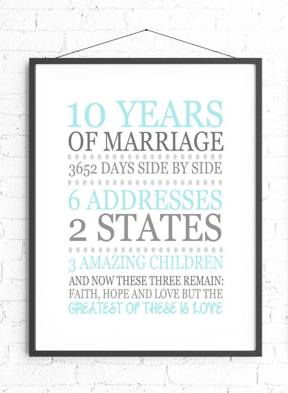 10th Anniversary Wall Art, Personalized Anniversary Gift, Present For Wife, Gift For Husband, Gray And Aqua Decor, 1 Corinthians 13:13 Print