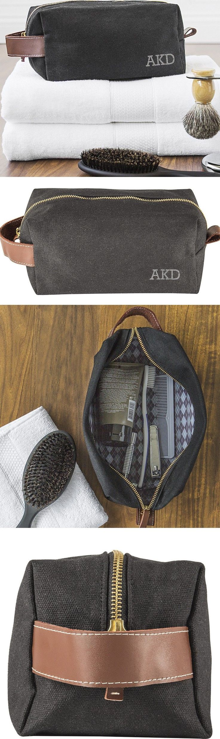 Groomsmen Gift Idea - Give your best man and each of your groomsmen a canvas dopp kit travel bag personalized with their initials. The guys can keep their toiletry and grooming needs handy fro traveling.