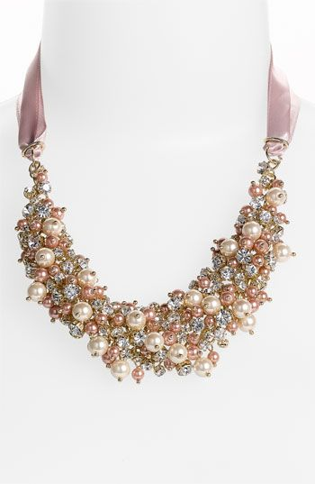 Nina 'Melaney' Ribbon & Cluster Bib Necklace Soft satin ribbon suspends a