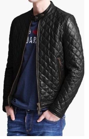 MEN SLIM FIT LATHER JACKET, MEN QUILTED LEATHER