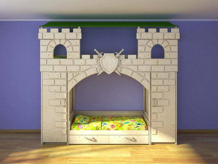 3D model of children's bunk beds are made in the form of a fortress