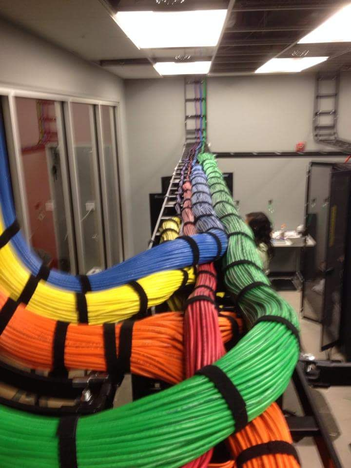 Rainbow road of Ethernet cabling.