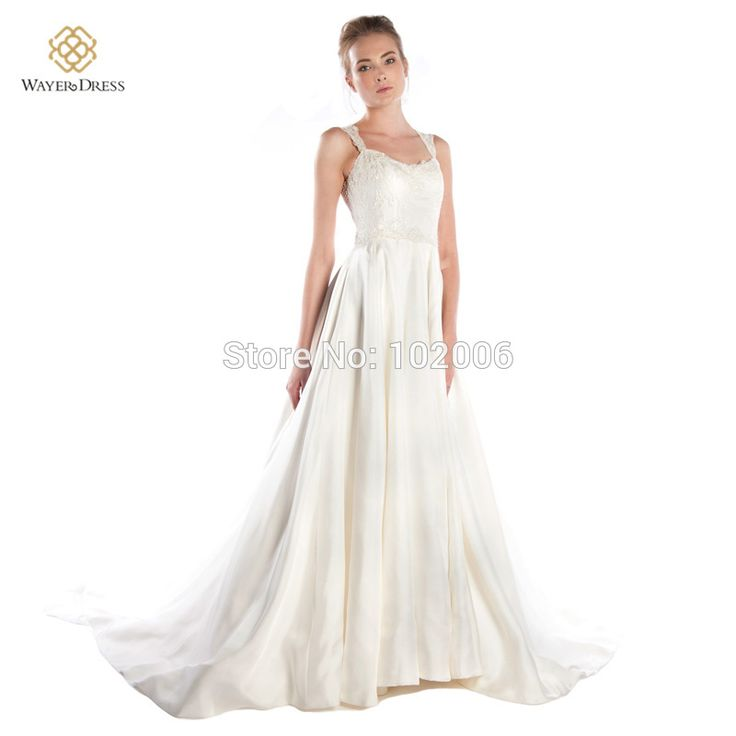 New Arrival Vestidos De Noivas A-line Lace Appliques Satin Wedding Dresses abiti da sposa shopping sales online 2015 Fall