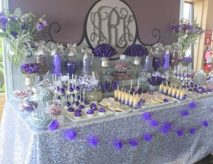 Purple & Gray Dessert Table for bridal shower idea www.MadamPaloozaEmporium.com www.facebook.com/MadamPalooza