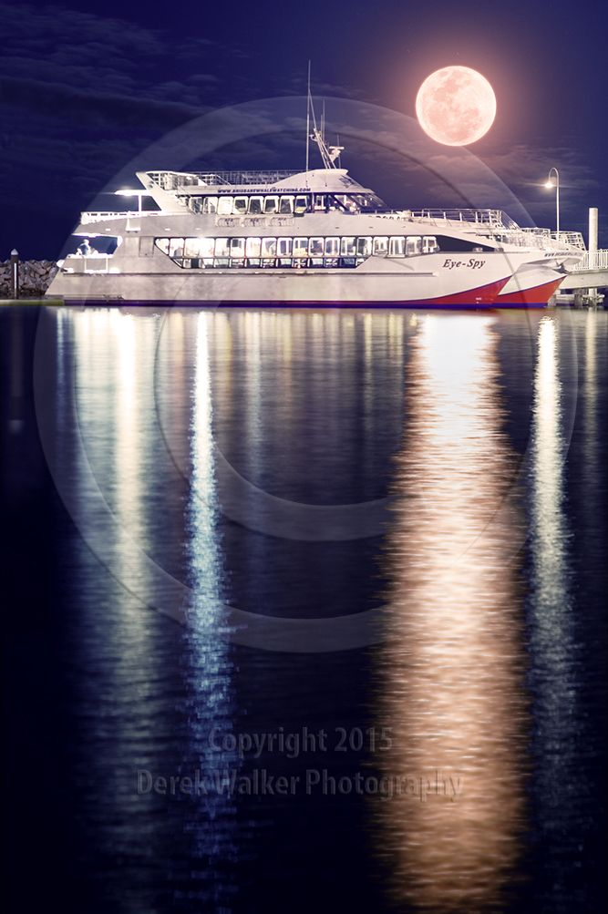 The luxurious Eye Spy of Brisbane Whale Watching, moored at the Redcliffe Jetty in Moreton Bay, Queensland, Australia, under a full moon.  For image licensing enquiries, please feel welcome to contact me at derekwalker73@bigpond.com  Cheers :)