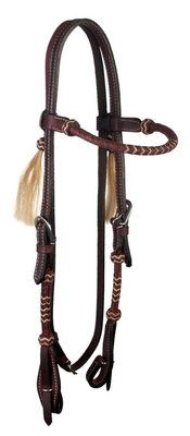 """Rolled Rawhide Browband Headstall 