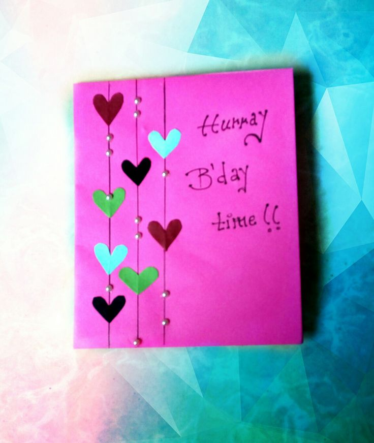 Birthday card #13 : Little hearts, gems, card paper ...that's all u need..