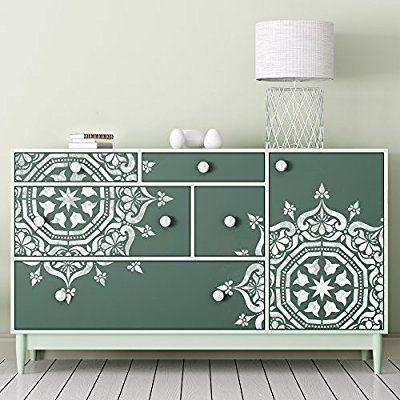 BUKHARA Medallion Circular Stencil - Moroccan Furniture Floor Wall Furniture Stencil (Medium (A3))