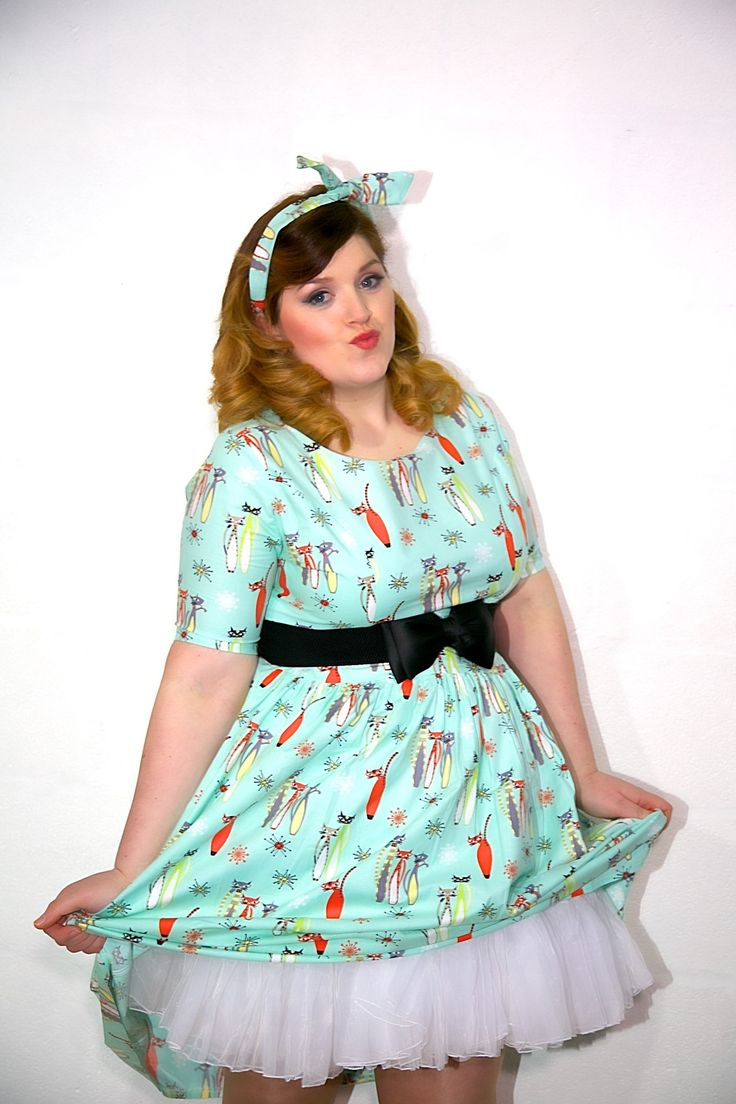 1950's Style Atomic Cats Dress with Sleeve - Silly Old Sea DogSilly Old Sea Dog