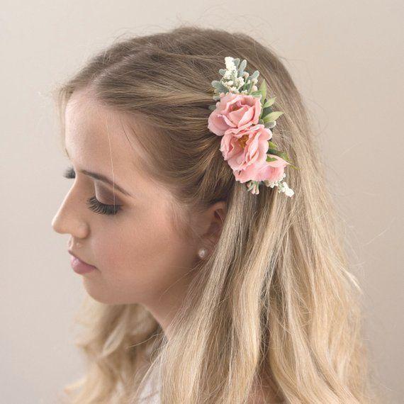 Pink Flower Comb Rose Bridesmaids Hair Accessory Blush Etsy Bridesmaid Hair Accessories Blush Flower Hair Flower Hair Comb
