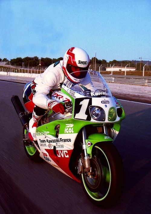 The original Ninja …Alex Vieira aboard the works Kawasaki France ZXR-7, the bike that sparked the Ninja heritage.