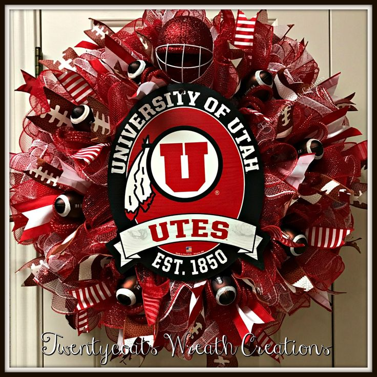 University of Utah Utes deco mesh football wreath by Twentycoats Wreath Creations (2017)