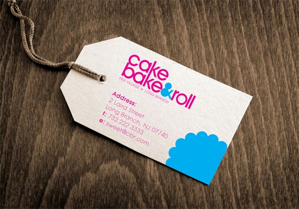 business card and packaging tag for cake bake & roll bakery by anthony divivo