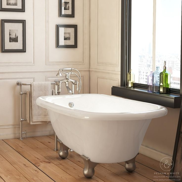 Pelham & White Luxury 54 Inch Clawfoot Tub with Nickel Cannonball Feet (Classic - Acrylic - White)