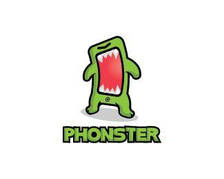 Phonster Logo design - Logo design of a smartphone shaped like a green monster.  Price $350.00