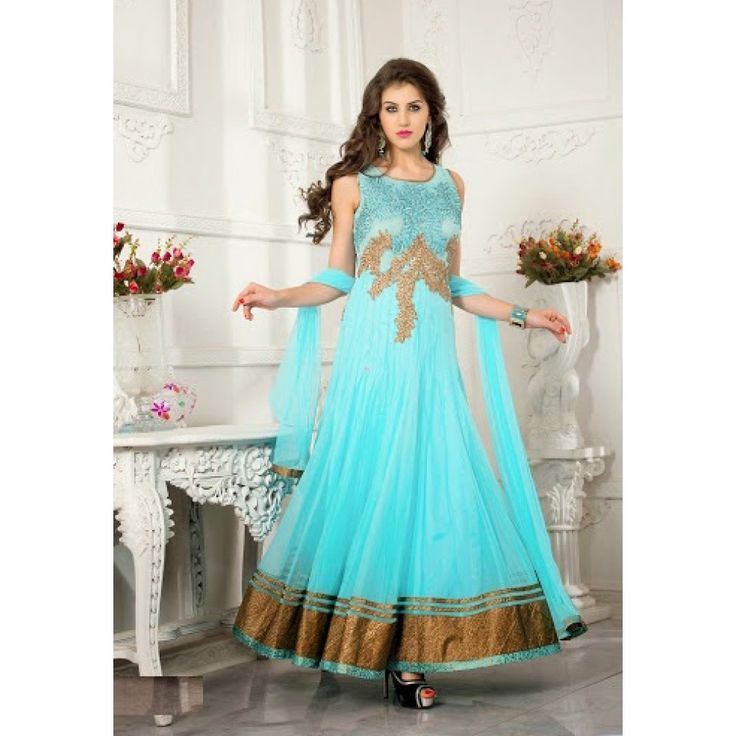 Blue Net Readymade #Anarkali Suits With Dupatta- $175.46