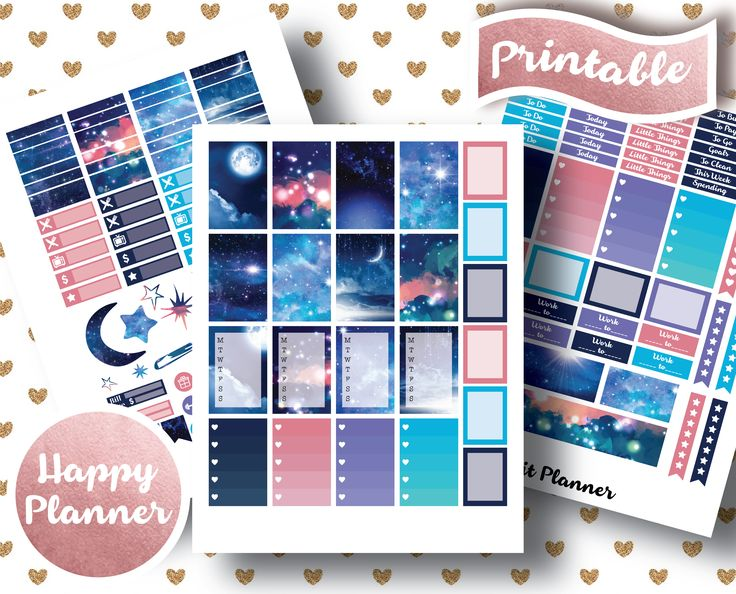 MAMBI Happy Planner // Printable Planner Stickers // Night Stickers // Stars // Moon // Sky // Shooting Star // Cosmos // Space // Night // Universe // Pink // Blue // Purple