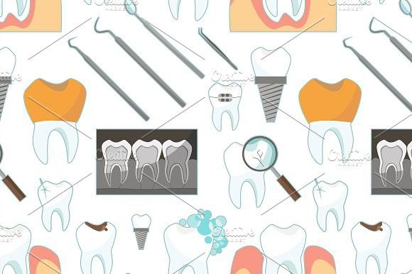 Dental tooth icons pattern. Patterns