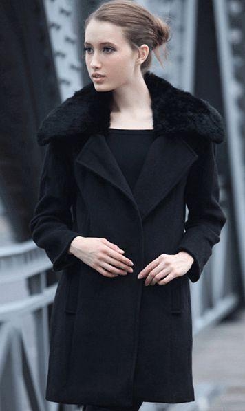 Rabbit fur collared coat