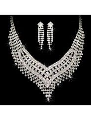 Shining Rhinestones Wedding Bridal Jewelry Set, Including Necklace and Earring, Tiara