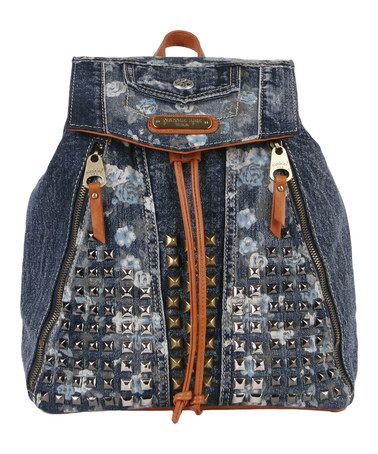 Another great find on #zulily! Blue Rikky Floral Studded Denim Backpack Handbag by Nicole Lee #zulilyfinds