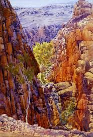 Stanley Chasm in West Macdonnell Ranges,  Central Australia, Northern Territory - Albert Namatjira 1902 - 1959 - Google Search