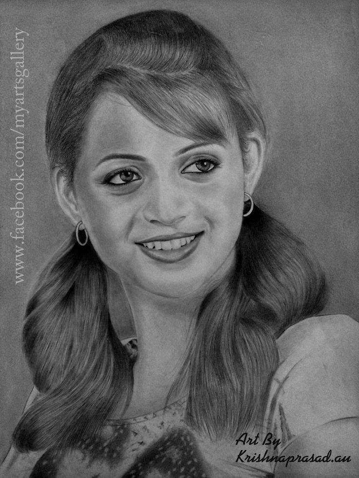 My Art Work :) Realistic Portrait Of Actress #Bhavana :)   Pencils : Camlin 10B,8B,5B,2B,HB,6H,4H,2H,H.  Size : A4.  Duration : 25 Hours.  www.facebook.com/myartsgallery