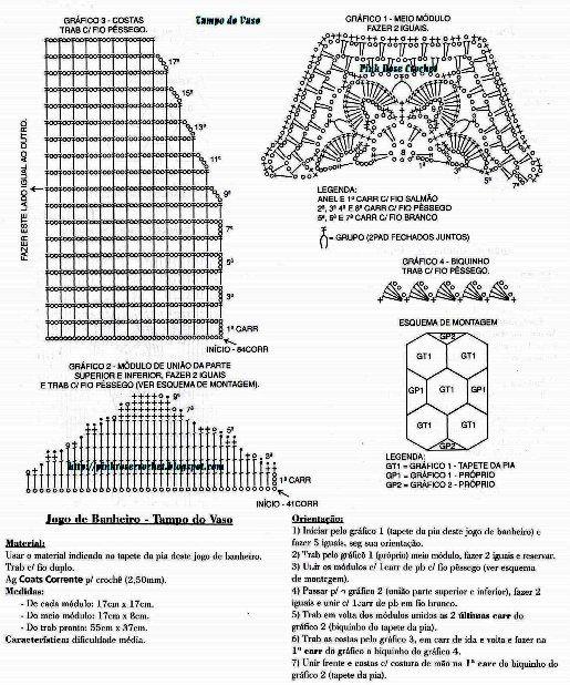Очень нежный комплект из шестиугольных мотивов для ванной комнаты. Схема вязания