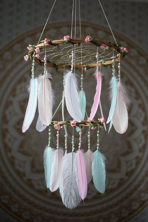HUGE round BLUE 36 INCH DREAMCATCHER feather bead handmade LARGE dream catcher
