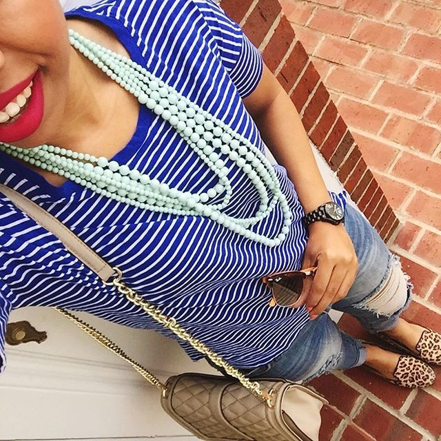 striped tee, tunic tee, mint necklace, matte lipstick, colourpop, leopard print loafers, rebecca minkoff, style blog, outfit ideas, weekend wear, casual outfit, distressed jean outfit