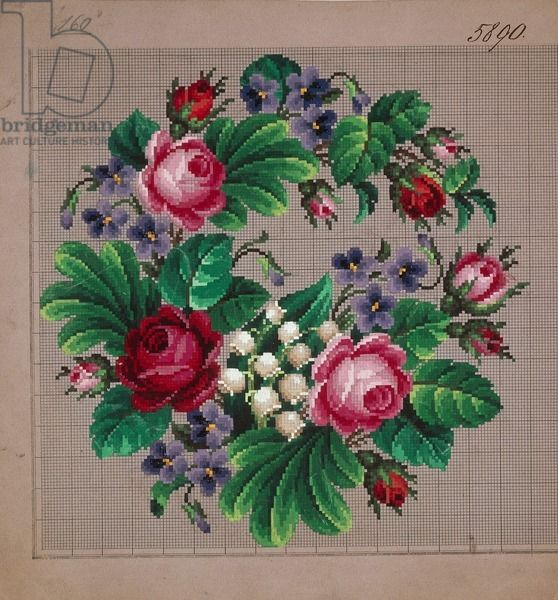 Garland of roses, violets and lilies of the valley embroidery design, 19th century