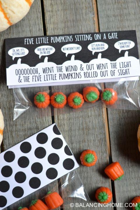 Five Little Pumpkins Sitting on a Gate Halloween Printable | Balancing Home