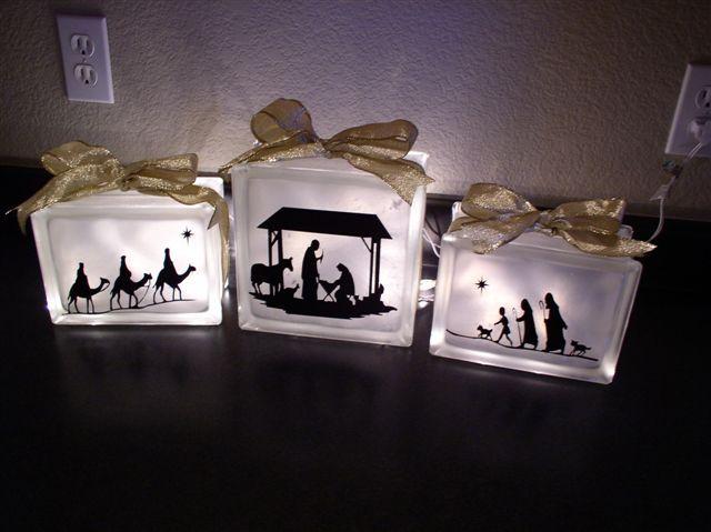 Lighted Nativity glass blocks