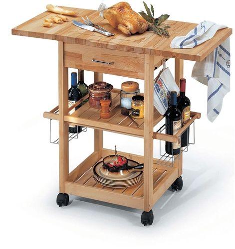 Carrello da cucina allungabile in legno con tre ripiani, Pantagruel.