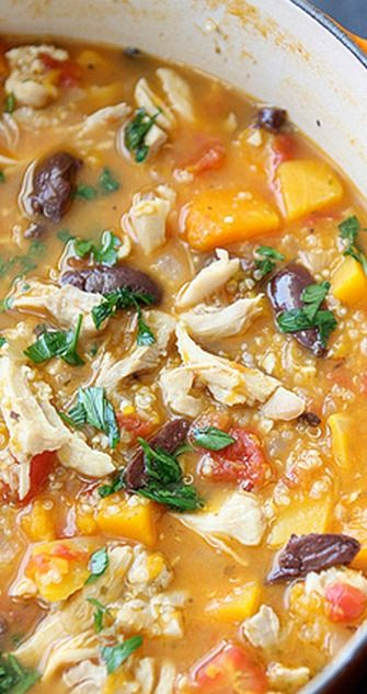 Hearty Chicken Stew with Butternut Squash & Quinoa ~ I am going to sub out kidney beans for the olives. This looks amazing AND EASY!