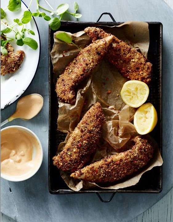 Pistachio crusted chicken with spicy aioli (Pete Evans)