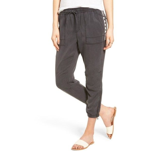 Women's Pam & Gela Beaded Crop Pants featuring polyvore, women's fashion, clothing, pants, capris, ink, cropped capri pants, slouch pants, saggy pants, slouch trousers and slouchy trousers