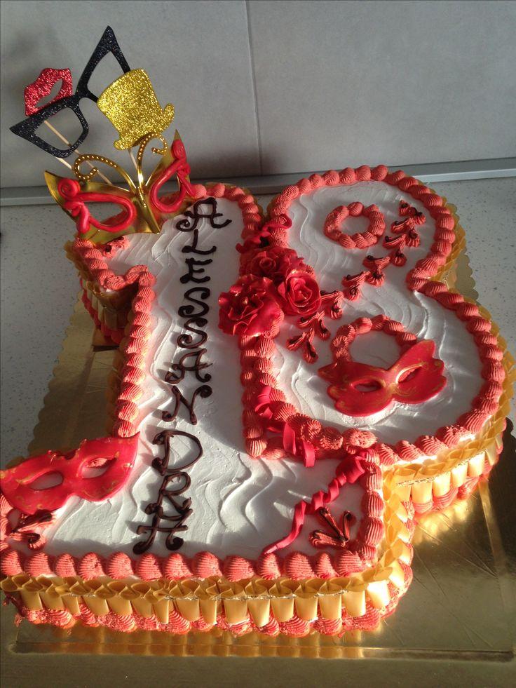 Number18.  Cake, carnival, torta forma 18, tema carnevale , decorazione panna