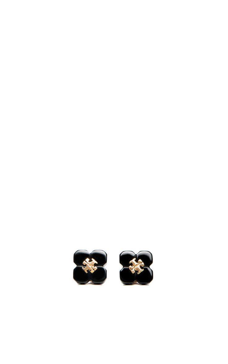 Örhänge Babylon Resin Stud BLACK/GOLD - Tory Burch - Designers - Raglady