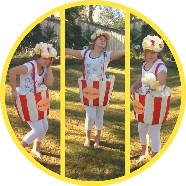 Homemade Popcorn Costume for 'movie theme' party. Made from 100% recycled materials found around our house. Bucket is flexible plastic washing basket with bottom cut out. Popcorn made from pillow stuffing, rubber bands & yellow spray paint.