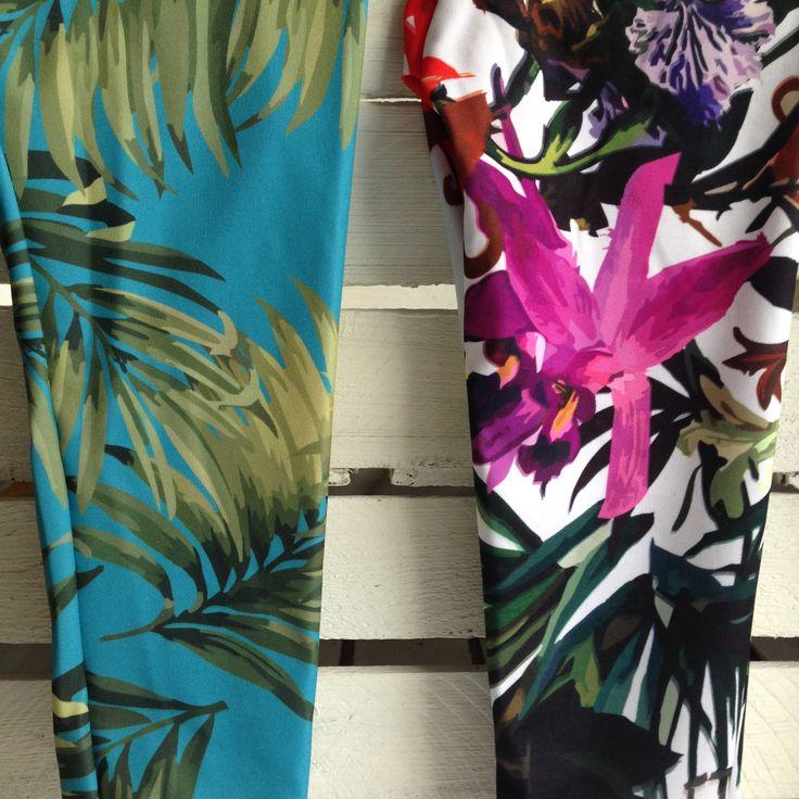 leggins: palms, summer flowers/ICON STORE
