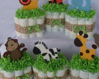 5 Mini Jungle Diaper Cakes , Jungle Diaper Cake, Jungle Baby Shower, Safari  Diaper Cake, Safari Baby Shower, Baby Shower Decorations