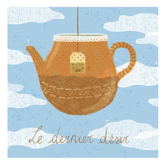 Tea Art Print Wall Decor - Teapot Illustration Poster