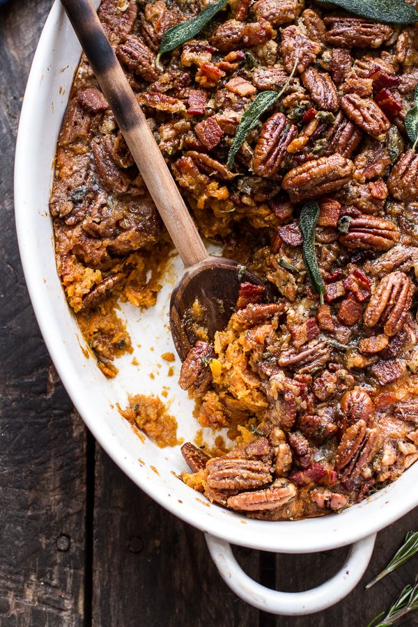 Bourbon Sweet Potato Casserole with Sweet 'n' Savory Bacon Pecans _ They are basically like candied bacon and pecans with buttery, brown sugar sweet potatoes!