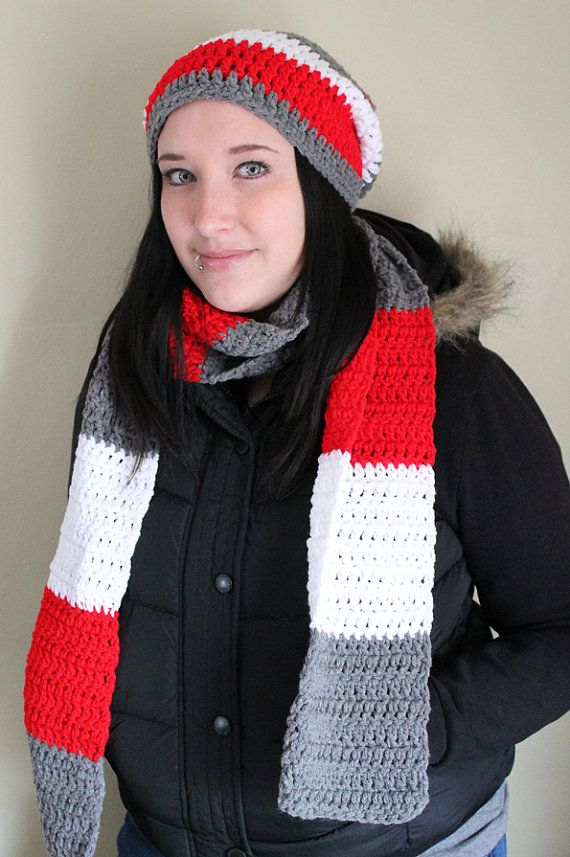 OSU Ohio State Color Scarf and Hat Set  Ready to by JulianBean, $45.00